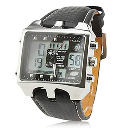 Soleasy Herren Military Analog-Digital-Multifunktions-Dual Time Zones Armbanduhr schwarz WTH8013