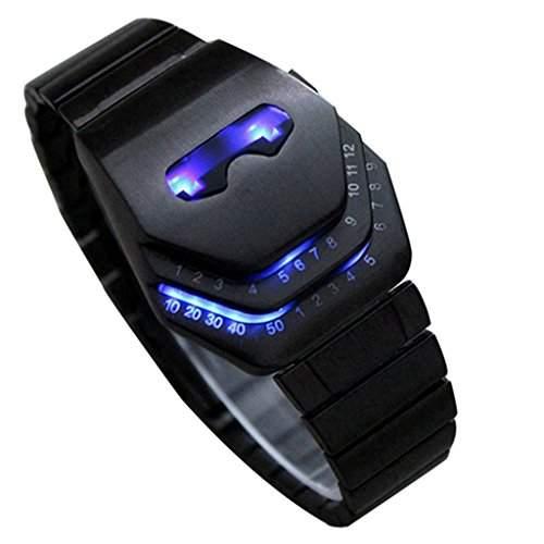 Soleasy Herren Peculiar coole Gadgets interessante erstaunliche Snake Leiter Design Blaue LED Uhren WTH8021