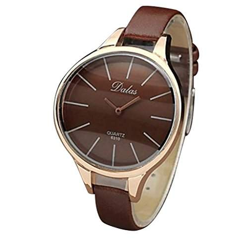 Soleasy Frauen der Dame Stil Casual analoge Quarz-Armbanduhr braun WTH8028