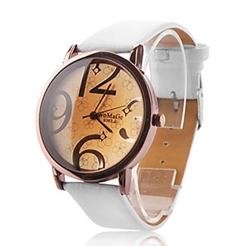 Soelasy Frauen modernen grossen Ziffern Vorwahlknopf-Armbanduhr wei? WTH8030