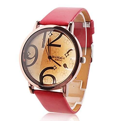 Soelasy Frauen modernen grossen Ziffern Vorwahlknopf-Armbanduhr Red WTH8031