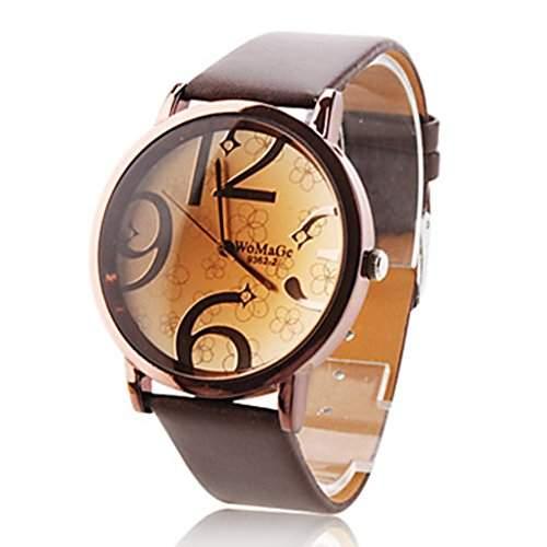 Soelasy Frauen modernen grossen Ziffern Vorwahlknopf-Armbanduhr braun WTH8032