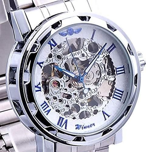 Soleasy 2014 Marken-mechanische Skeleton Mens-Edelstahl-Armbanduhr blau WTH8043