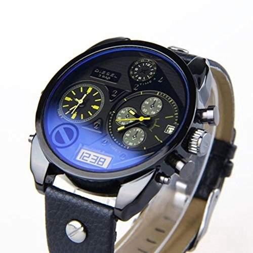 Soleasy Luxus coole Mens Boys Analog Sport Stahl RS Quarz Datum Leder Wrist Watch WTH8047
