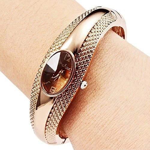 Soleasy Frauen-Mode fuer Maedchen goldene Armband-Armband-Kristall Armbanduhr WTH8050