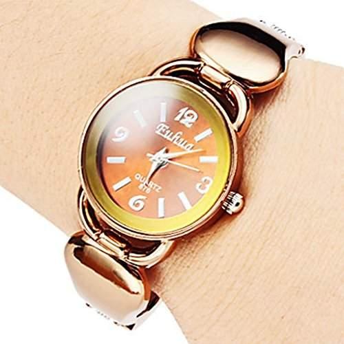 Soleasy Qualitaets-Frauen-beilaeufige Art-Bronze-Legierung Analog-Quarz-Armbanduhr-Armband WTH8074