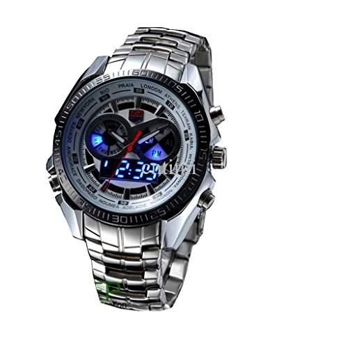 Soleasy Trendy Herren Sport Uhr Fashion blau Binaer LED Zeiger Armbanduhr WTH8280