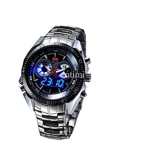 Soleasy hohe Qualitaet rostfrei Stahl schwarz Herren Uhr Fashion blau Binaer LED Zeiger Armbanduhr WTH8281
