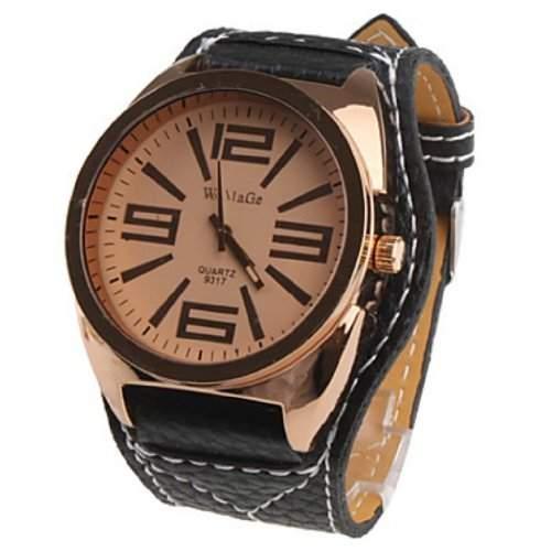 Soleasy Unisex grosse Zifferblatt Stil PU-Leder-Quarz-Armbanduhr schwarz WTH0234