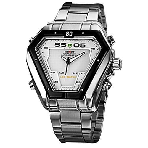 Soleasy neue Maenner Dreieck Muster Steel digitaleranaloger Multi Bewegung LED-Quarz Armbanduhr 2 Zeitzone WTH0462