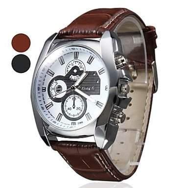 Soleasy neue Herren Silber Etui Leder Band Quarz Analog Wrist Watch WTH1009