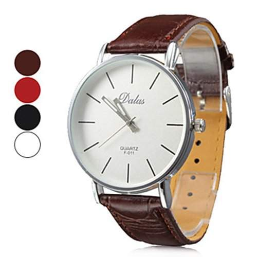 Soleasy Herren Damen Simple White Dial PU-Band analoge Quarz-Armbanduhr WTH1029