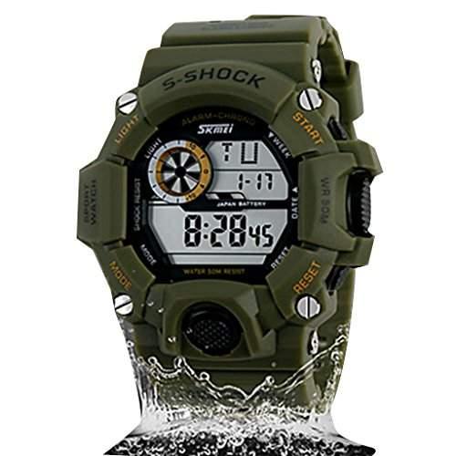 Soleasy Herren Military Style Multi-Funktions-LCD-Digital-Silikon-Band Sportliche Armbanduhr WTH1040