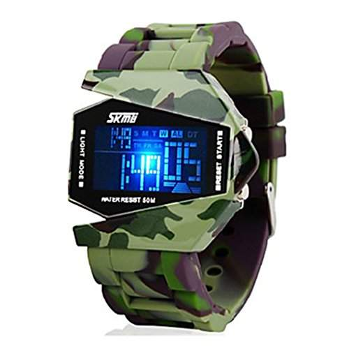 Soleasy Herren Quarz Camouflage Style Watch Multi-Funktions-Digital-bunter LED-Silikon-B¨¹gel-Armbanduhr WTH0813