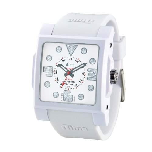 iTime Unisex Armbanduhr mit weissem Zifferblatt Analog-Anzeige und weisse Silikon-D-MC01 MC4300