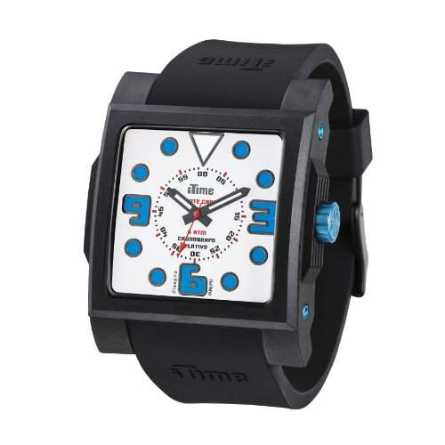 iTime Unisex Armbanduhr mit weissem Zifferblatt Analog-Anzeige und Schwarz-Silikon-Buegel-MC02 MC4302