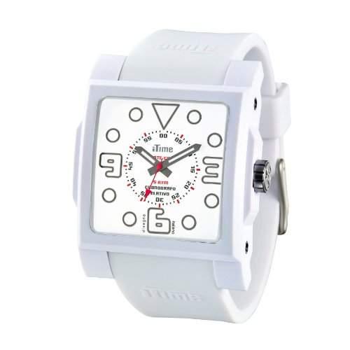 iTime Unisex Armbanduhr mit weissem Zifferblatt Analog-Anzeige und weisse Silikon-MC01W MC4303
