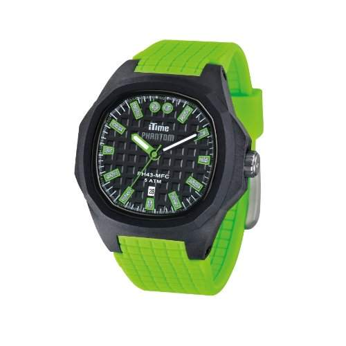 iTime PH4300-PHD5 Unisex Armbanduhr Analoges schwarzes Zifferblatt Silikonband in grün