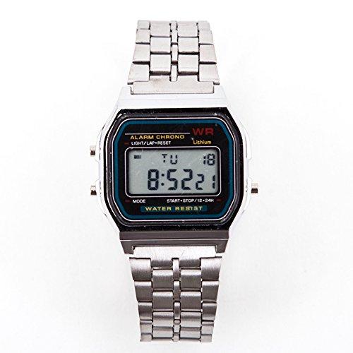 Digitale Retro Armbanduhr Stoppuhr Alarm Kalender Silber Watch Datumsanzeige