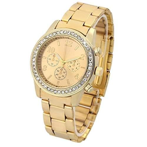 Elegante Damen & Herren Armbanduhr Edle Uhr Gold, Strass Watch