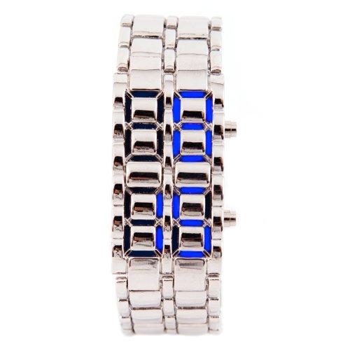 LED Uhr Silber Blau Trend Watch Face Style Sport Herrenuhr Damenuhr HOT