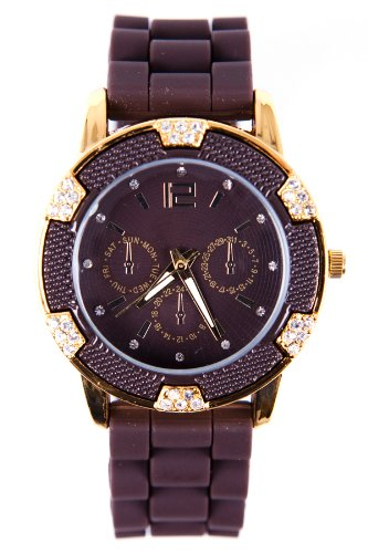 EDEL STRASS CHRONOGRAPH SILIKON UHR BRAUN GOLD DAMEN TOP WATCH