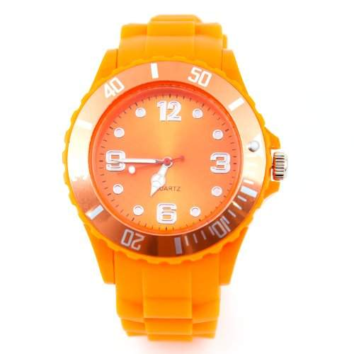 Silikon Uhr XXL Orange Trend Watch Big Face Style Sport Herrenuhr Damenuhr HOT