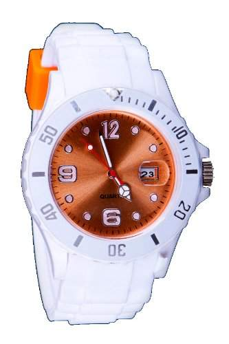 Silikon Uhr XXL Weiss  Orange Trend Watch Style Sport Herrenuhr Damenuhr HOT