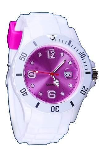 Silikon Uhr XXL Weiss Pink Trend Watch Style Sport Herrenuhr Damenuhr HOT