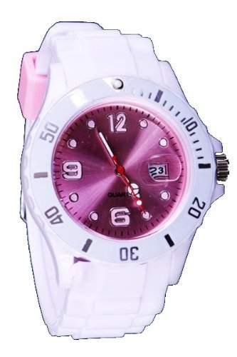 Silikon Uhr XXL Weiss  Rosa Trend Watch Style Sport Herrenuhr Damenuhr HOT