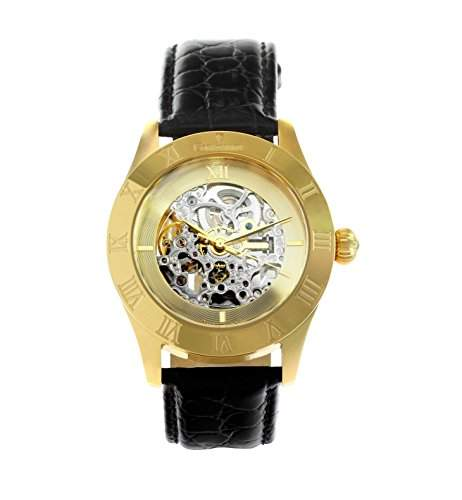Continuum Herren-Armbanduhr Automatik Analog Skelettuhr Leder Schwarz - CO15004