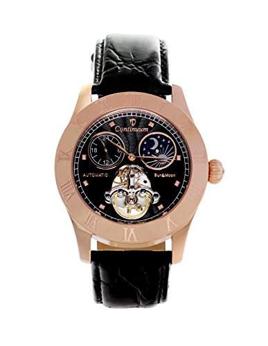 Continuum Herren-Armbanduhr Automatik Analog Leder Schwarz - CO15017