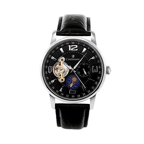 Continuum Herren Armbanduhr Automatik Analog Leder Schwarz C15H19