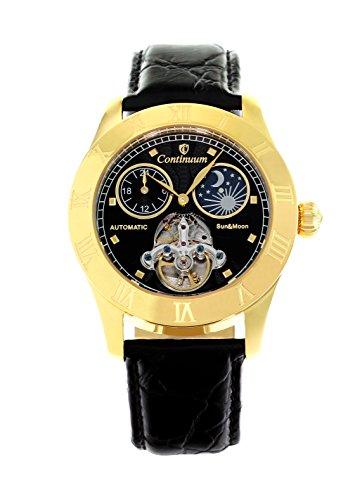 Continuum Herren Armbanduhr Automatik Analog Leder Schwarz CO15019