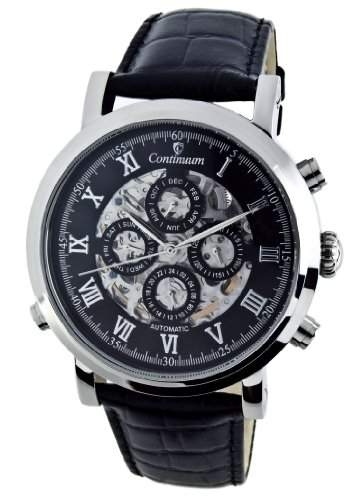 Continuum Herren-Armbanduhr Automatik Analog Skelettuhr Leder Schwarz - CT120106
