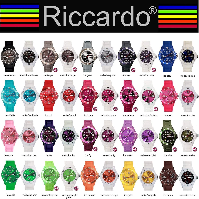 Riccardo® Silikon Uhr - Farbe weiss-ice berry - small Face - Damen & Herren Uhren - in vielen Farben erhaeltlich