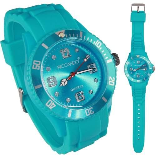 Riccardo® Silikon Uhr - Farbe ice-tuerkis - small Face - Damen & Herren Uhren - in vielen Farben erhaeltlich