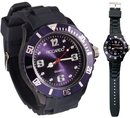 Riccardo® Silikon Uhr - Farbe ice-navy blau - small Face - Damen & Herren Uhren - in vielen Farben erhaeltlich