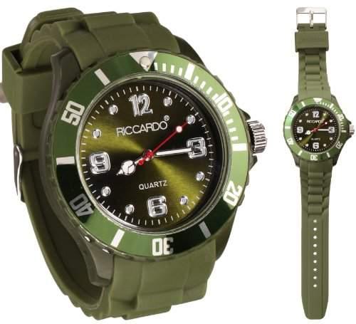 Riccardo® Silikon Uhr - Farbe ice-olive - small Face - Damen & Herren Uhren - in vielen Farben erhaeltlich