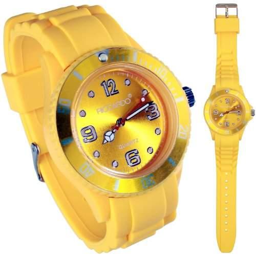 Riccardo® Silikon Uhr - Farbe ice-gelb - small Face - Damen & Herren Uhren - in vielen Farben erhaeltlich