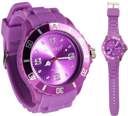 Riccardo® Silikon Uhr - Farbe ice-violet - Big Face - Damen & Herren Uhren - in vielen Farben erhaeltlich