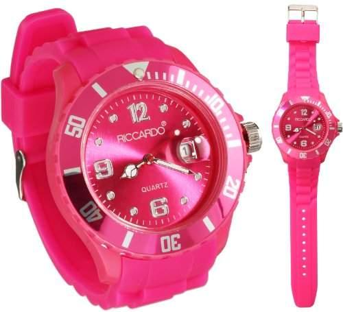 Riccardo® Silikon Uhr - ice pink - small Face mit Datum - Damen & Herren Uhren - in vielen Farben erhaeltlich