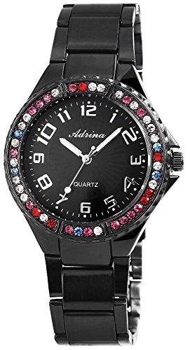 Adrina Damen Analog Armbanduhr mit Quarzwerk RP4797110001 und Metallgehaeuse mit Edelstahl Armband in Schwarz und Faltschliesse Ziffernblattfarbe schwarz Bandgesamtlaenge 19 cm Armbandbreite 20 mm