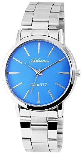 Adrina Damenuhr analog Armbanduhr Silberfarbig Quarzwerk und Metallgehaeuse rund 38mm x 8mm Edelstahlarmband Silberfarbig 19cm x 20mm Faltschliesse und Ziffernblatt in blau RP4672350002