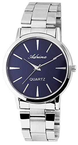Armbanduhr mit Edelstahlarmband Silberfarben Blau
