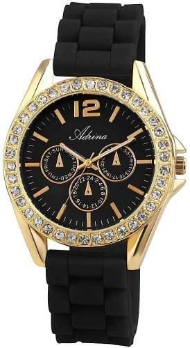 Modetrend 2013: Damen goldfarben schwarz, Strass, Damen-Armbanduhr Chronolook