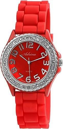 Elegante & modische Damenuhr in Rot mit Silikonarmband und Strass