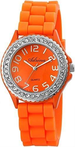 Elegante & modische Damenuhr in Orange mit Silikonarmband und Strass