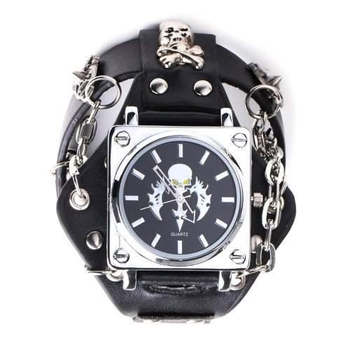 YESURPRISE Punk Gotik Stil schwarz Leder Quarz Herrenuhr Armbanduhr Damen Uhr Unisex Rock Geschenk Xmas Gift watch