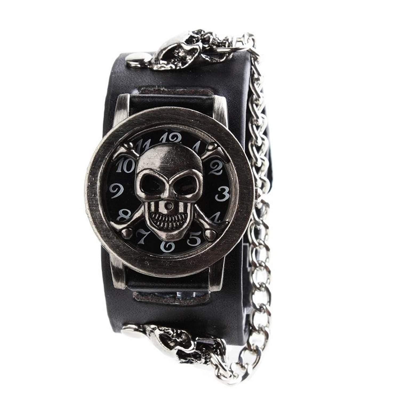 YESURPRISE Uhr Rock skull Punk Still Leder Quarz Uhr Herrenuhr Armbanduhr Kette Damen Unisex Geschenk Xmas Gift watch